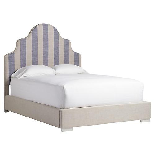 Westport Bed, Blue/Natural Stripe Linen