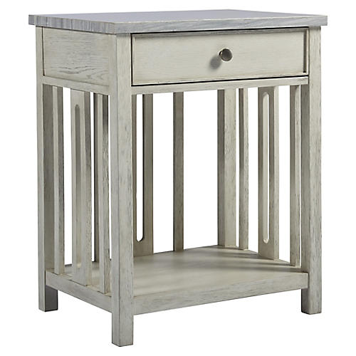 Shelly Stone-Top Nightstand, White