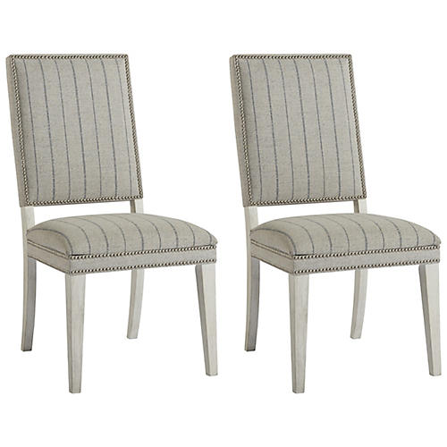 S/2 Shorewood Side Chairs, Gray/Blue
