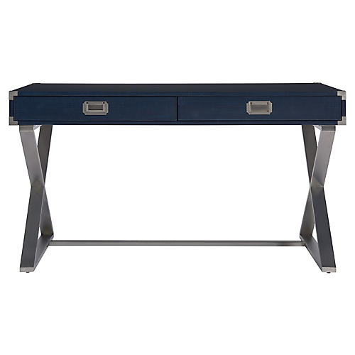 Tahoe Desk, Blue/Silver