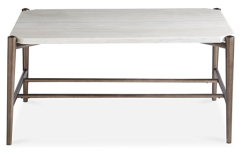 Curated Cocktail Table, White/Bronze