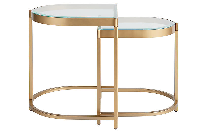 Editorial End Table, Soft Gold Metal