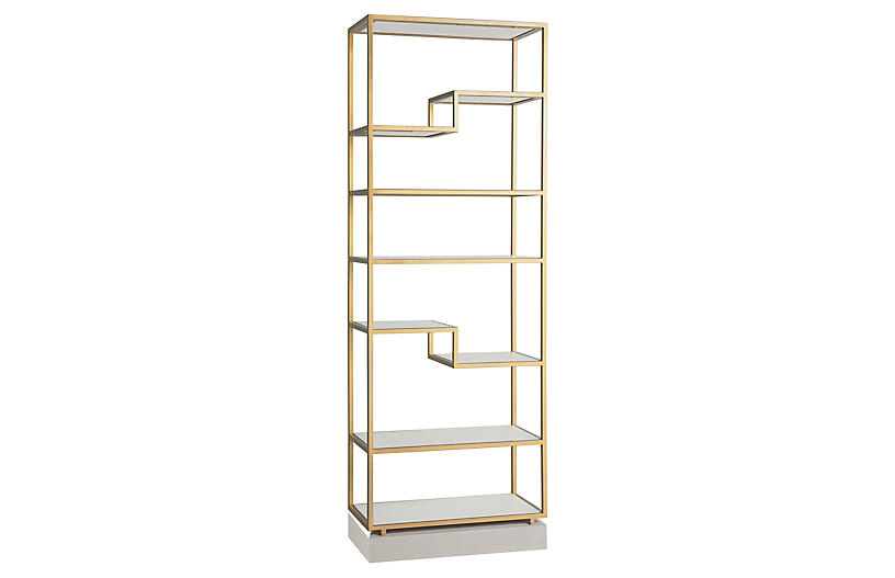 Windmere Etagere, Soft Gold Metal