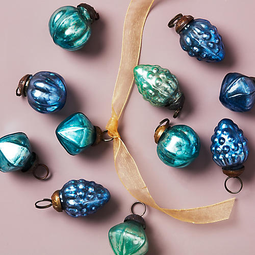 Asst. of 36 Embossed Mercury Ornaments, Blue/Multi