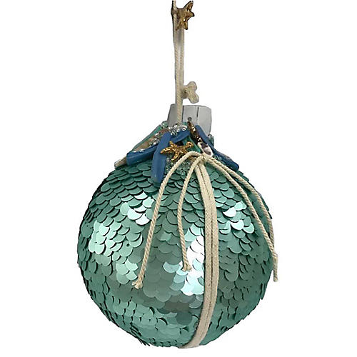 Seastars Sequin Ornament, Teal