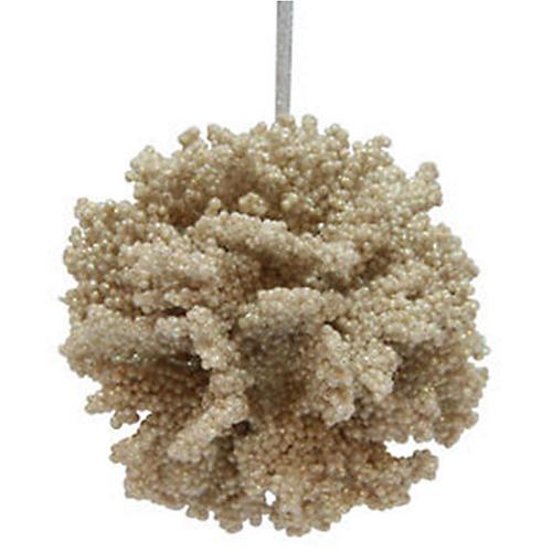Coral Ball Ornament, Cream