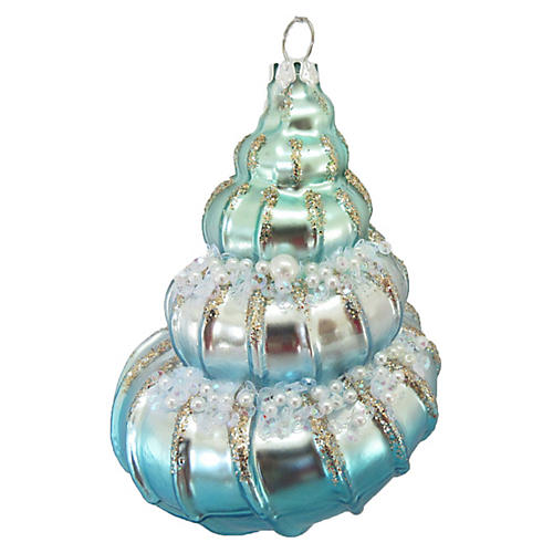 Conch Shell Ornament, Blue