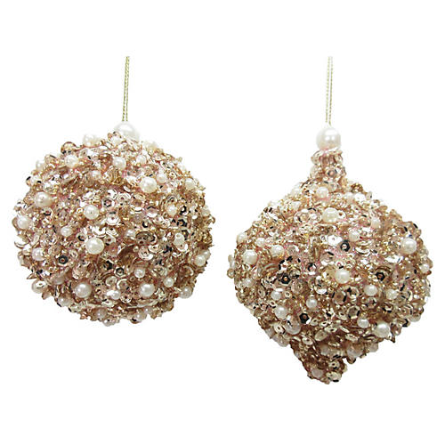 Asst. of 2 Pearlized Sequin Ornaments, Gold