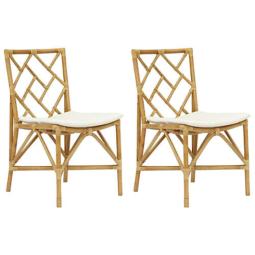 S/2 Aberdeen Side Chairs, Natural