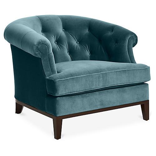 Wilshire Accent Chair, Bluestone Velvet