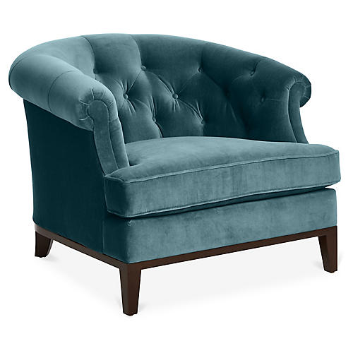 Wilshire Accent Chair, Bluestone Velvet