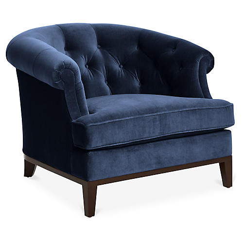 Wilshire Accent Chair, Indigo Velvet