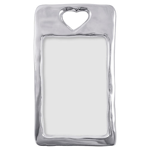 4x6 Open Heart Frame, Silver