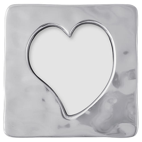 Open Heart Square Frame, Silver