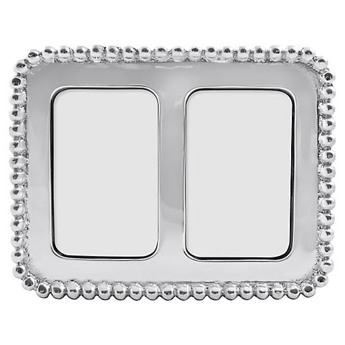 2x3 Beaded Double Frame, Silver
