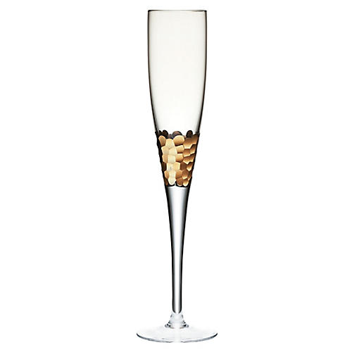 S/4 Paillette Champagne Flutes, Clear/Gold