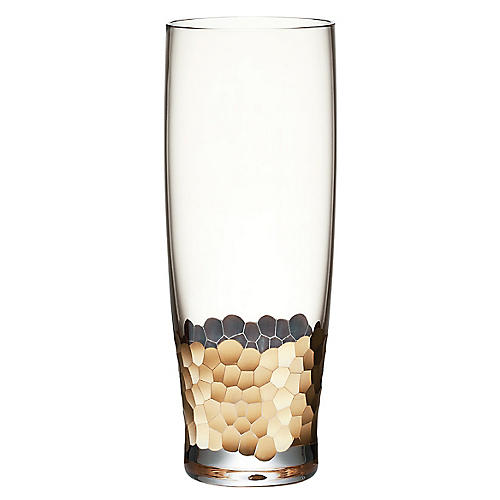 S/4 Paillette Tumblers, Clear/Gold