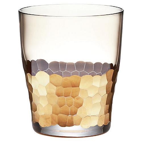 S/4 Paillette DOF Glasses, Clear/Gold