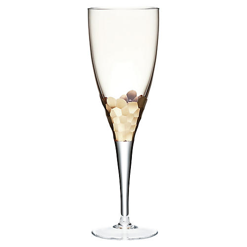 S/4 Paillette Goblets, Clear/Gold