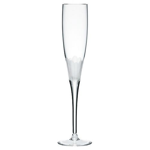 S/4 Paillette Champagne Flutes, Clear