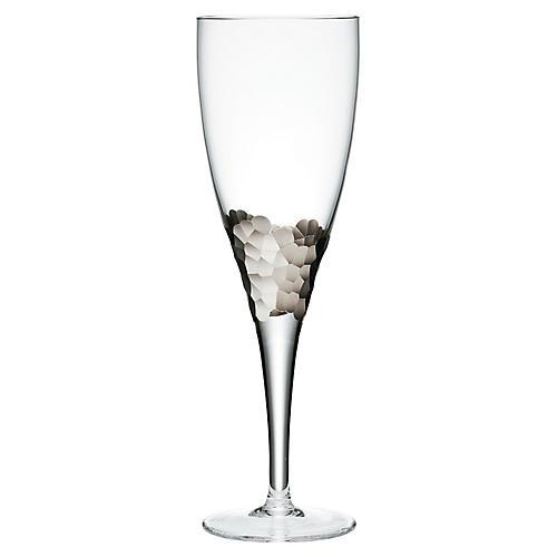 S/4 Paillette Goblets, Clear/Platinum