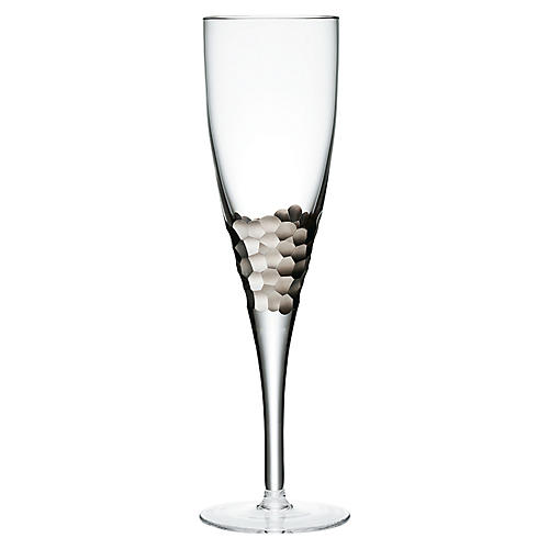 S/4 Paillette White-Wine Glasses, Clear/Platinum
