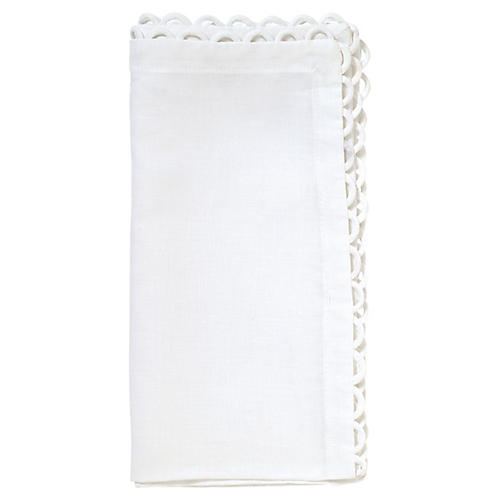 S/4 Loop Dinner Napkins, White