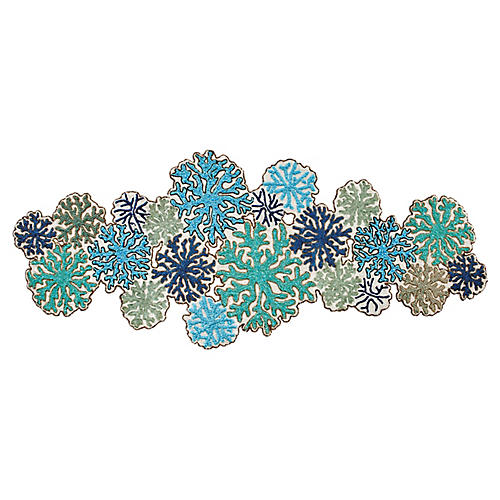 Coral Table Runner, White/Turquoise