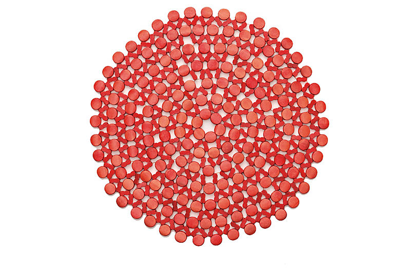 S/4 Round Place Mats, Coral