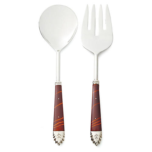 S/2 Moon Salad Servers, Brown/Silver