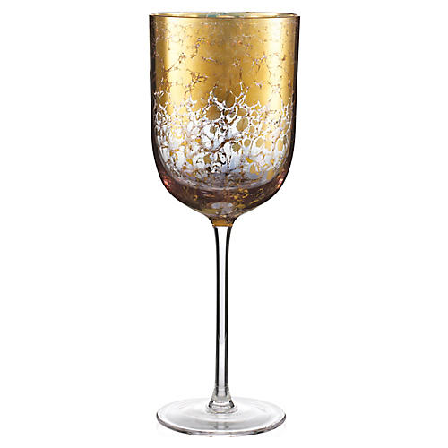 S/4 Crackle Wineglasses, Gold