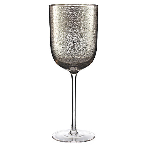 S/4 Crackle Wineglasses, Platinum