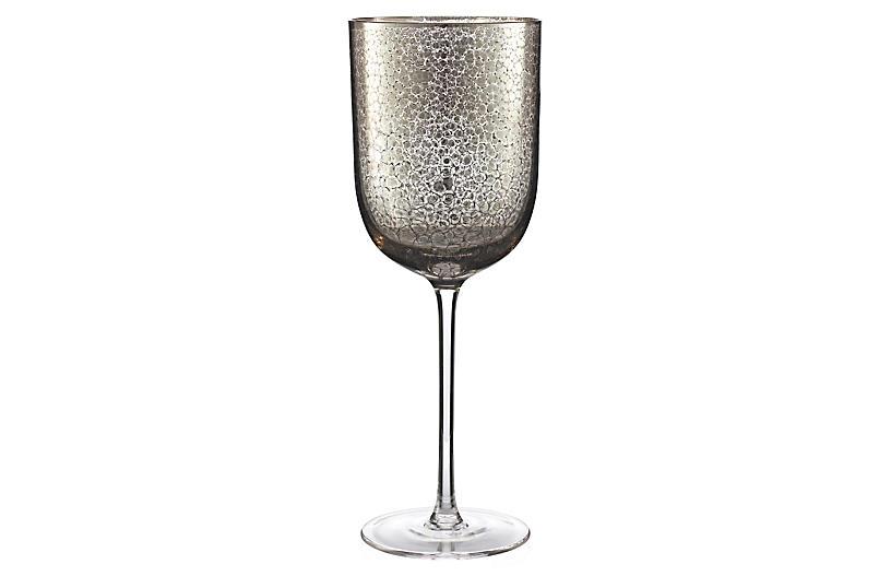 S/4 Crackle Wineglasses, Platinum