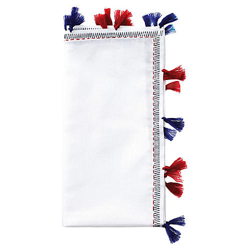 S/4 Pom-Pom Dinner Napkins, White/Multi