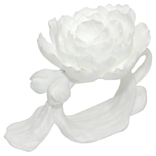 S/4 Tree Peony Napkin Rings, White
