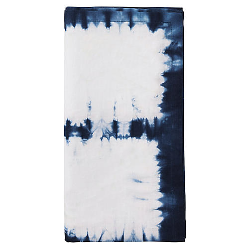 S/4 Congo Dinner Napkins, White/Blue