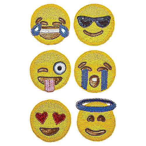 S/6 Emoji Coasters, Yellow