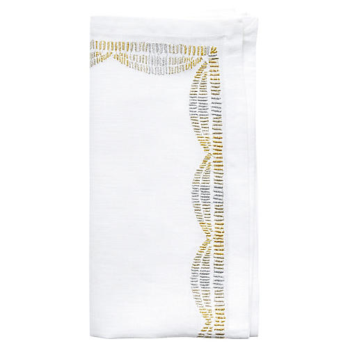 S/4 Patina Dinner Napkins, Gold