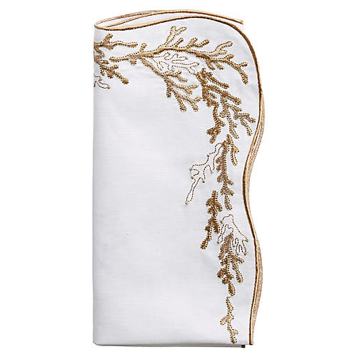 S/4 Reef Dinner Napkins, Gold