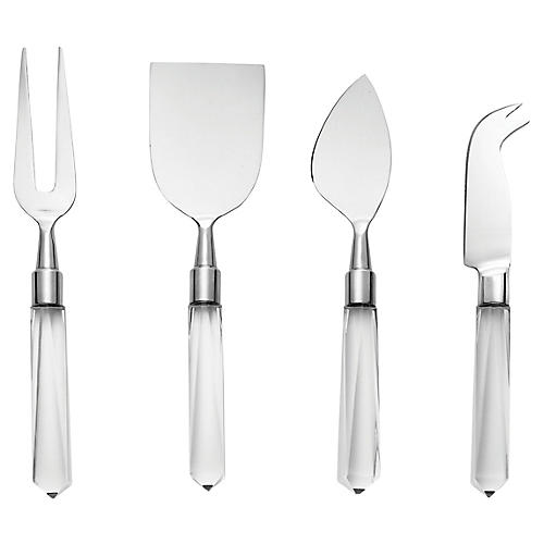 4-Pc Acrylic Cheese Knives, Silver/Clear