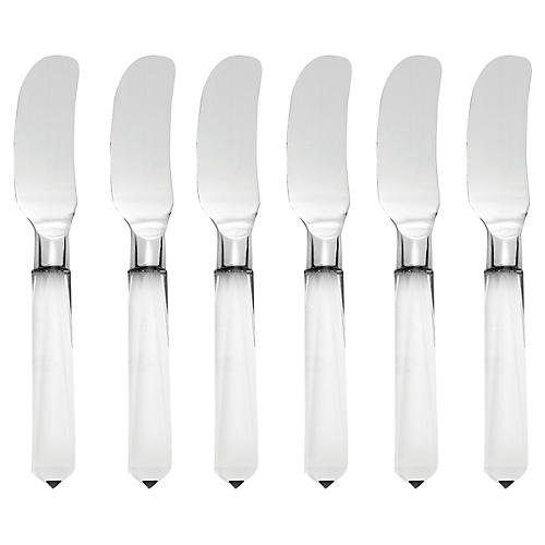 S/6 Acrylic Cheese Spreaders, Silver/Clear