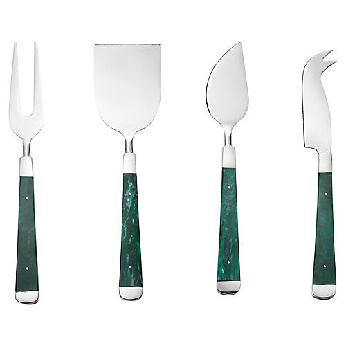 S/4 Malachite Cheese Knives, Emerald