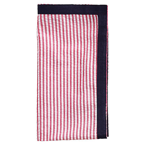 S/4 Ribbon Dinner Napkins, Red/Navy