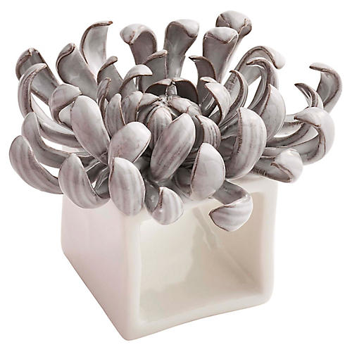 S/4 Flower Napkin Holders, Gray