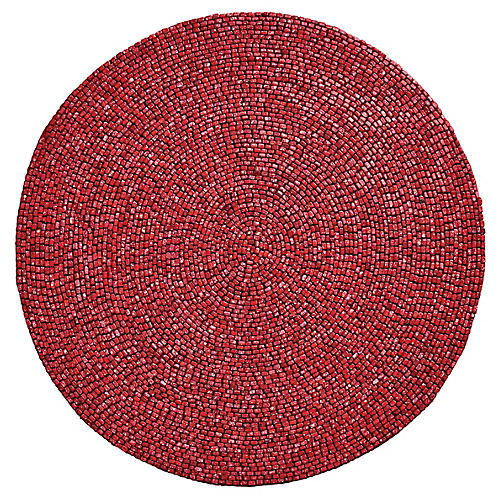 S/4 Bead Place Mats, Coral