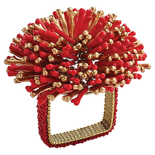 S/4 Sunburst Napkin Holders, Coral/Gold