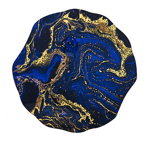 S/4 Cosmos Place Mats, Blue/Gold