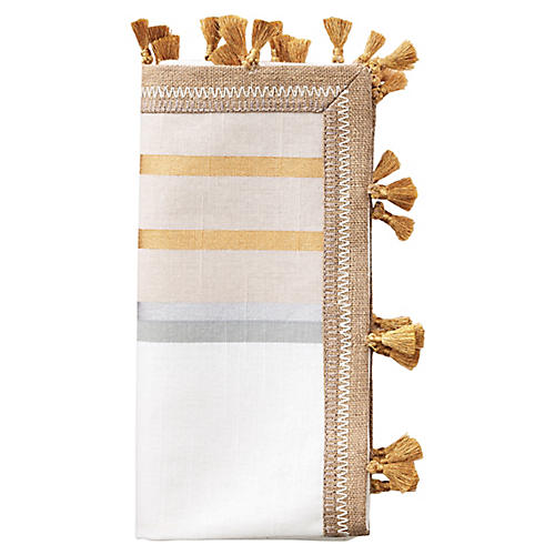 S/4 Jaipur Dinner Napkins, Beige/Multi