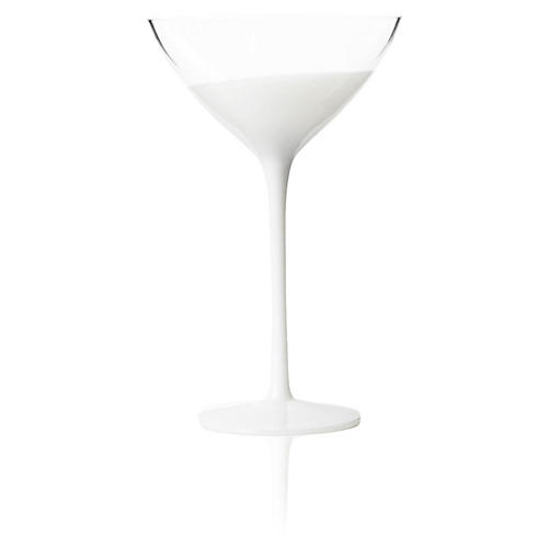 S/4 Vague Martini Glasses, Clear/White