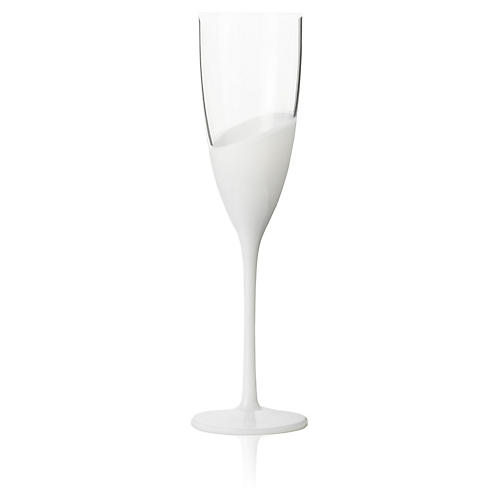 S/4 Vague Champagne Flutes, Clear/White